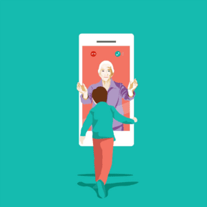 Artwork - people and phone, embrace